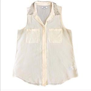 Madewell Twinklelight Silk Collar Top